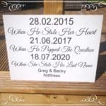 New Personalised Wedding Special Dates Sign