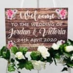 Welcome To Our Wedding Sign - With Flowers - (7x FLOWER CHOICES)