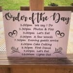 Large Order Of The Day Wedding Sign - Design 3