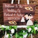New Bride & Groom Wedding Sign - Dark Wood Version
