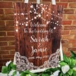 Dark Wood Rustic Welcome To Our Wedding Sign - With Lights - Portrait Version