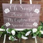New Light Brown Wood Oh Snap, Wedding Camera Sign