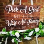 New Rustic Dark Wood Pick A Seat, Not A Side Wedding Sign