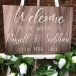Welcome To Our Wedding Sign - Brown Veneer Design