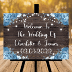 New Rustic Dark Wood Welcome Wedding Sign - Printed Lights / Blue Flowers