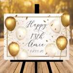 New White Script Font Birthday Sign - Gold / White Balloons