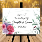 White Welcome To Our Wedding Sign - Pink, Lilac, Greenery - Landscape Version