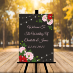 New Black Wedding Sign - Red, Green, Pink Flowers