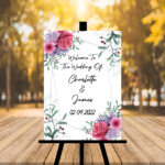 White Welcome To Our Wedding Sign - Pink, Lilac, Greenery - Portrait Version