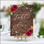 Rustic Printed Table Numbers - Red Roses