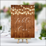 Rustic Light Brown Wood - Printed Table Numbers - Lights