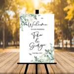White Welcome To Our Wedding Sign - Green Leaves