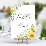 White Printed Table Numbers - Yellow Flowers