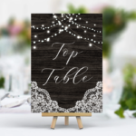 Printed Black Table Numbers - With Printed Lights / White Lace.