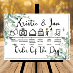 White Order Of The Day / Wedding Timeline Sign - With Greenery