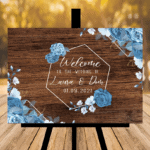 Rustic Brown Wedding Sign - Design Four - Blue Flowers