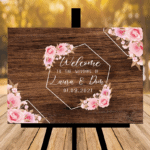 Rustic Brown Wedding Sign - Design Four - Pink Flowers