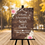 Dark Rustic Welcome To Our Wedding Sign - Light Pink & Grey Flowers