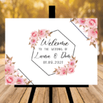 New White Wedding Sign - Design Four - Pink Flowers