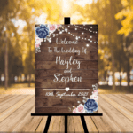 Dark Rustic Welcome To Our Wedding Sign - Pink & Navy Blue
