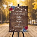 Dark Rustic Welcome To Our Wedding Sign - Navy Blue / Red Version