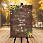 Dark Rustic Welcome To Our Wedding Sign - Sunflowers